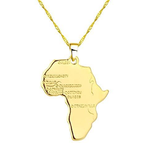 TFOOD Kaart Ketting Voor Vrouwen, Afrika Kaart Hanger Gouden Ketting Charm Patriottische Etnische Sieraden Voor Moeder Mannen Gift Accessoires