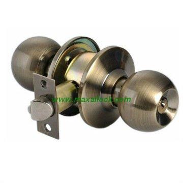 Hafele Antique Stainless Steel Knob Lockset with 3 Keys, 60mm Backset for Entrance and Office Doors (US 32D)