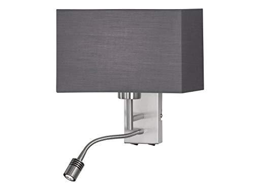 Honsel LED Wandleuchte mit Leselicht & Stoffschirm in Grau – Leselampe mit beweglichem Arm fexibel schwenkbar