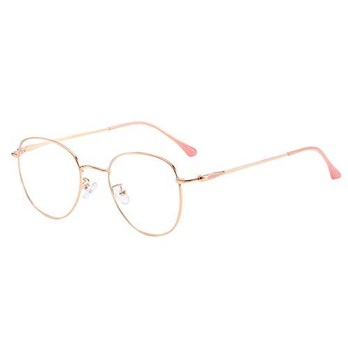 ANQUIKA ブルーライトカットメガネ輻射防止 パソコン用メガネ 視力保護 青色光カット眼鏡 金属 メガネフレーム 男女兼用 (Rose Gold)