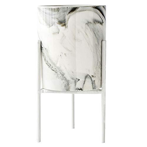 ZZH Mini Flower Pot Flower Stand Sukkulenten Topf Marmor Muster Keramik Übertopf Für Fensterbank Und Tisch, Weiß L