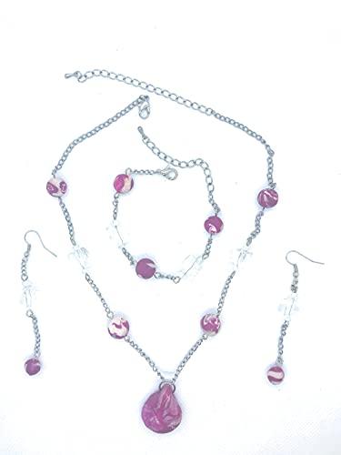 Conjunto hecho a mano de collar + pulsera + pendientes