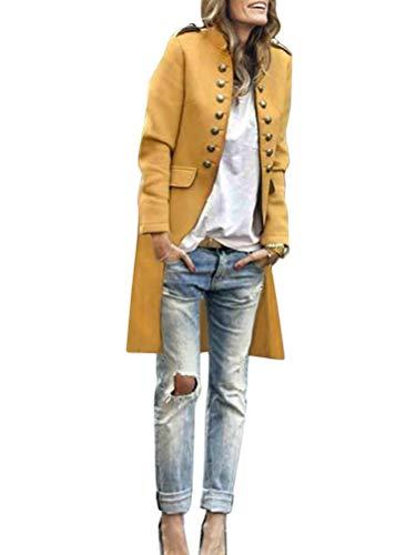 Tomwell Damen Blazer Elegant Anzugjacke Mantel mit Knopfleiste Military Blazer Lang Blazer Slim Fit Blazer Freizeit Stehkragen Business Büro Anzug Jacken Gelb 36