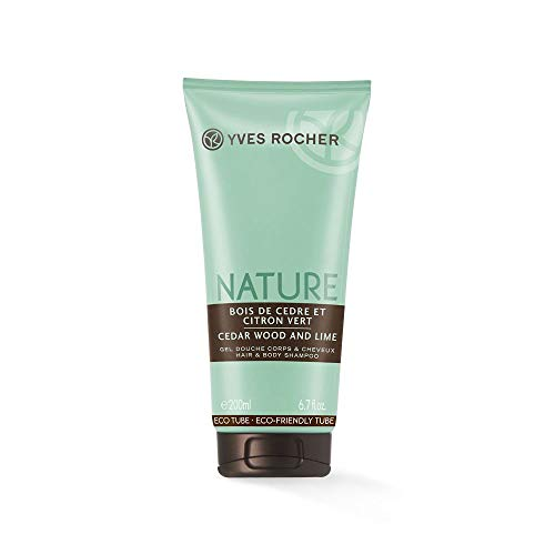 Yves Rocher NATURE Dusch-Shampoo Zedernholz & Limette, Duschgel & Shampoo Set, holzig & erfrischend, 1 x Tube 200 ml