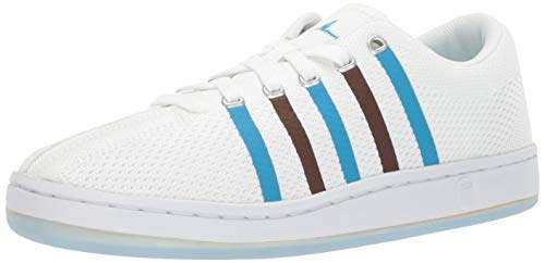 K-Swiss Men's Classic 88 Knit Clouds and Dirt Sneaker, White-Brown-Blue, 9.5 M US