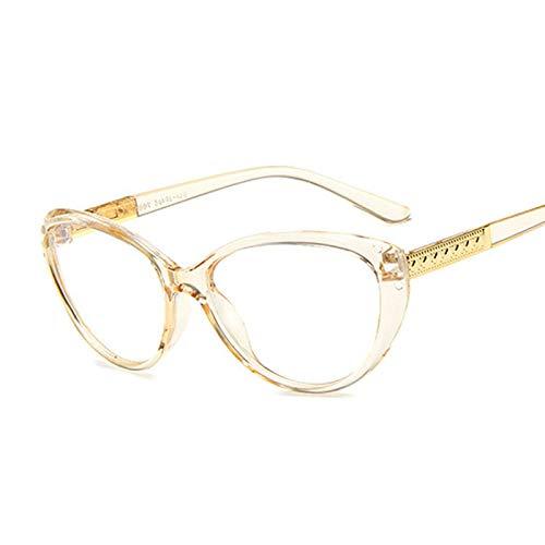 NJJX Gafas De Moda Con Montura De Ojo De Gato Para Miopía, Gafas Ópticas Para Mujer, Gafas Antiazules, Cómodas, Ligeras, Transparentes, Gafas, Transbrown