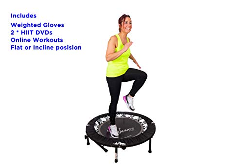 MaXimus HIIT Bounce PRO USA | Workout Trampoline For Adults | Folding Rebounder with Flat or Incline For Awesome Cardio & Tone Exercise Improving Agility | With DVDs for Fitness, Runners & Weight Loss
