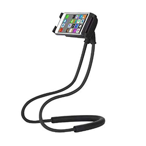 Soporte para Teléfono Celular Que Cuelga en el Cuello, Flexible 360 Grados de rotación del Soporte del móvil, Universal Cuello Soporte para Móvil, Tablet, Smartphone,Negro