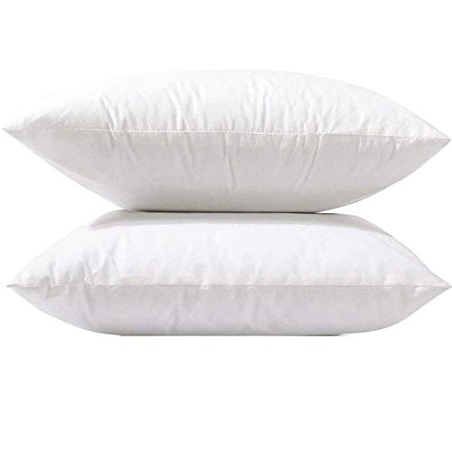 BeddingCareUk 2 Pack 45x45 cm 18' x 18' Cushion Inners Pads Inserts Fillers Stuffer Shams Square Pillows Anti Allergy White Bounce Back Hollowfiber Soft Hypoallergenic Polyester Fibre (2 Pack 18x18)