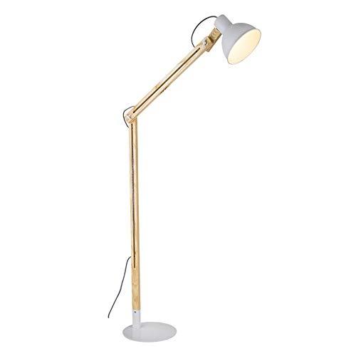 Raelf Moderne Minimalist Kipphebel Pole Stehlampe E27 Nordic Personality Kreative Einstellbare Massivholz Stehlampe Wohnzimmer Lampe, Schlafzimmer Lampe, Leselampe, Online-Schalter, Stand-Lampe mit Dr