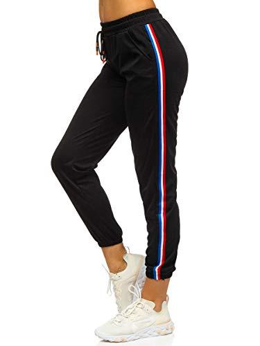 BOLF Damen Jogginghose Sporthose Trainingshose Freizeithose Sweatpants Jogger Sweathose Fitnesshose Jogpants Baumwolle Slim Fit J.Style YW01020 Schwarz L [F6F]