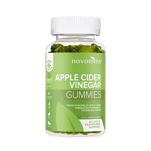 novomins vinagre de manzana gummies - raw, sin filtrar acv con la madre -750mg dosis diaria - 60 gummies - alternativa a vinagre de manzana cápsulas