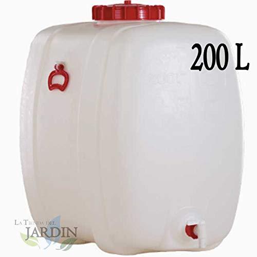 Houder van polyethyleen, geschikt voor levensmiddelen, 200 liter, voor vloeistoffen en dranken. Afmetingen: lengte 81 cm, breedte 50 cm, hoogte 77 cm, gewicht 9,4 kg.