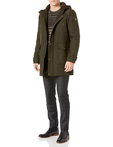 Kenneth Cole New York Men's Hooded Parka Jacket, Deep Olive, Large