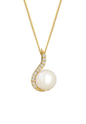 DIAMORE Halskette Damen Klassisch Perle mit Diamant (0.11 ct.) in 585 Gelbgold