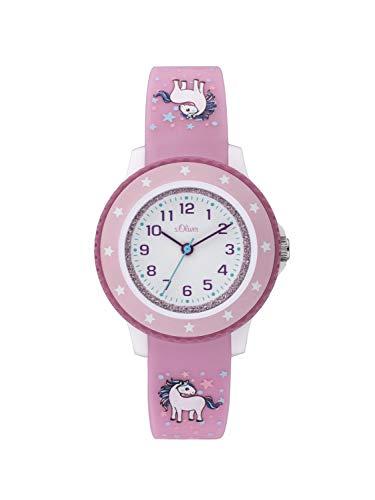 s.Oliver Mädchen Analog Quarz Uhr mit Silikon Armband SO-3912-PQ