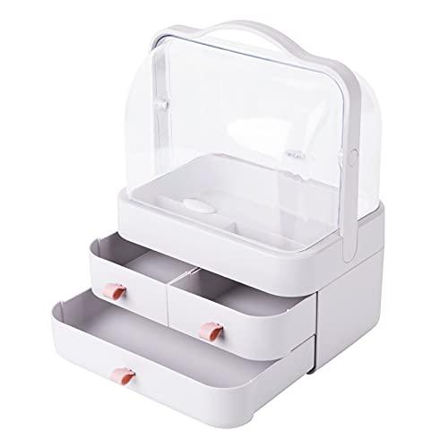 YGJT Rangement Maquillage Tiroir Organisateur de Maquillage avec Couvercle et Poignée Boîte de Rangement Cosmétique Boîte de Coiffeuse Boîte à Bijoux pour Commode Salle de Bain (Blanc)