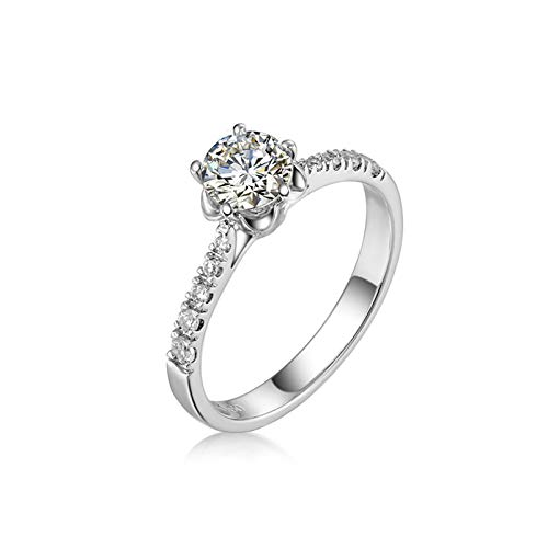 Adokiss Jewellery Sterling Silver Rings Women's 4 Bar Claw Set Cubic Zirconia Round Wedding Rings Partner Rings Engagement Rings Silver Size 65 (20.7)