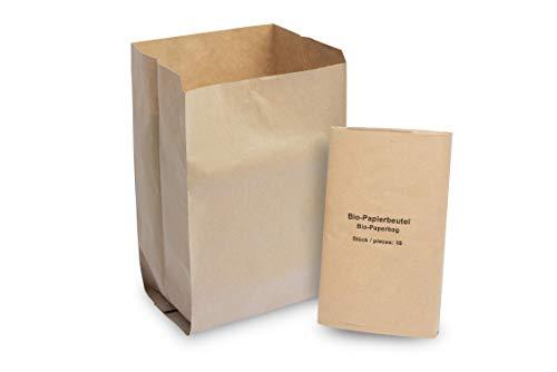Hypafol Bio Papier Müllbeutel | abbaubare braune Biomüllbeutel für kompostierbare & biologische Abfälle und mehr | ohne Plastik | 1-lagig, Tüten mit 10 L Fassungsvermögen | 200x160x360 mm, 30x10 Stück
