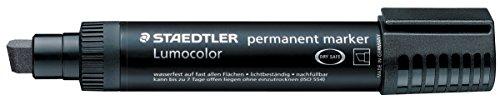 Staedtler Lumocolor Lot de 10 marqueurs permanents Jumbo à pointe biseautée largeur de trait: de 2 à 12 mm Noire Réf. 3889–Lot de 5