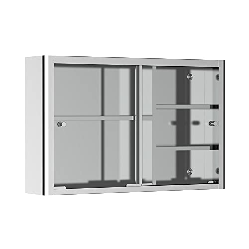 kleankin 24'' x 15'' Wall Mounted Bathroom Medicine Cabinet Sliding Door with Storage Shelves, Stainless Steel, Silver
