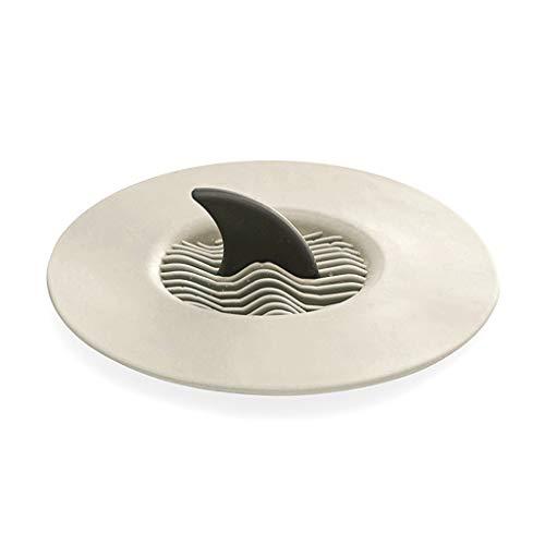 Fivekim Shark - Tappo per vasca da bagno, con filtro per capelli, per cucina, bagno, accessori per pavimento, TPR, beige, 10.8cm,4.25in