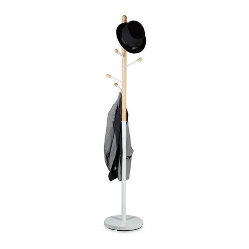Relaxdays, weiß Garderobenständer, freistehend, 6 Haken, Kleiderständer für den Flur, Holz und Metall, HD 180x34 cm, 34 x 34 x 180 cm