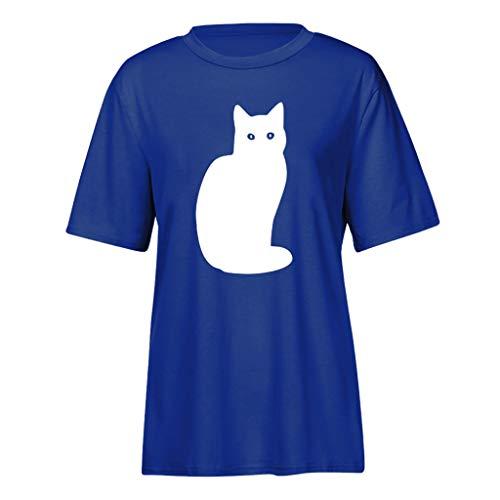 T-Shirt à Manches Courtes, Chemise Casual à imprimé Chat et en Coton pour Femmes Minces