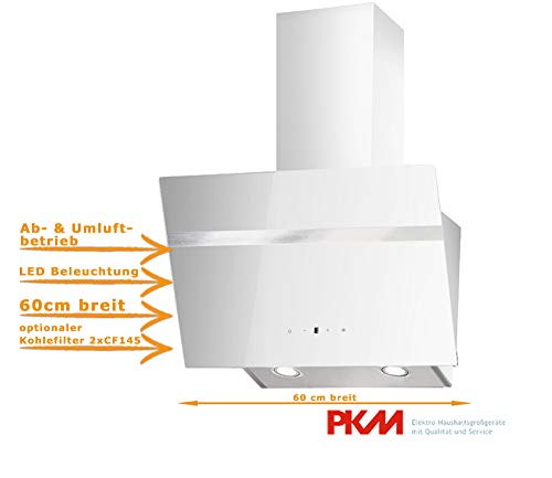 Dunstabszugshaube Weiß | 60cm | Randabsaugung | Touch Control & LED Beleuchtung | EEK A | 415m³/h - 616m³/h Luftstrom | Abluft- und Umluft