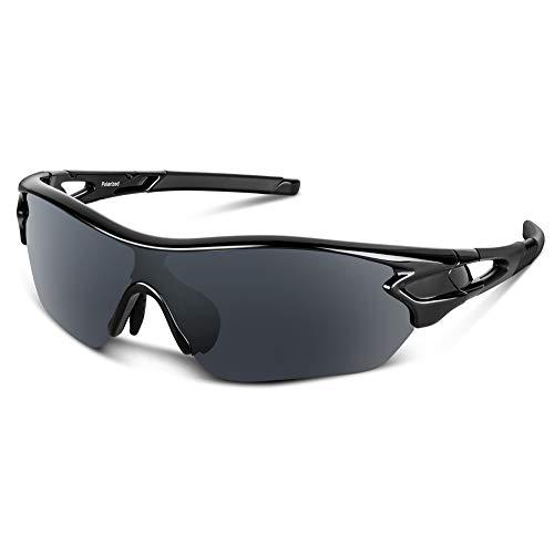 Bea Cool Gafas de sol polarizadas deportivas para hombres, mujeres, jóvenes, béisbol, ciclismo, correr, conducir, pescar, golf, motocicleta, tac, gafas (Negro brillante1)