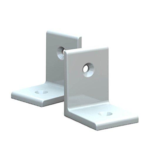 BUNT & PFIFFIG Winkelverbinder Doppelpack aus Aluminium verschiedene Farben 2 Stück 2er Pack pulverbeschichtet Weiß Reinweiß RAL 9010