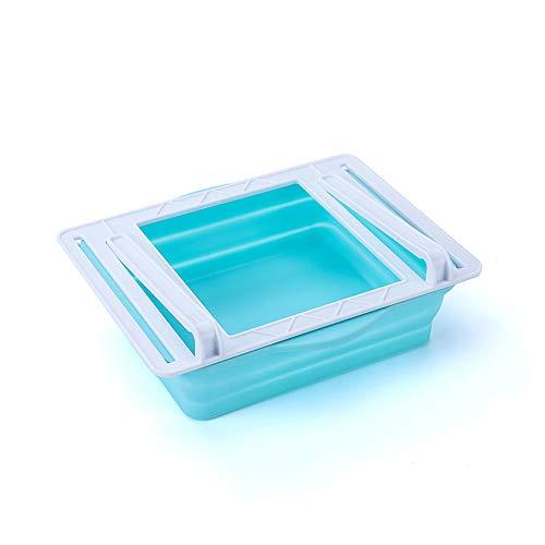 Guanici Kühlschrank Partition Layer Organizer Ausziehbaren Kühlschrank Schubladen Kühlschrank Lagerung Box Einstellbare kühlschrank Lagerregal Kühlschrank Aufbewahrungsbox für Gemüsefach Kühlfach Blau