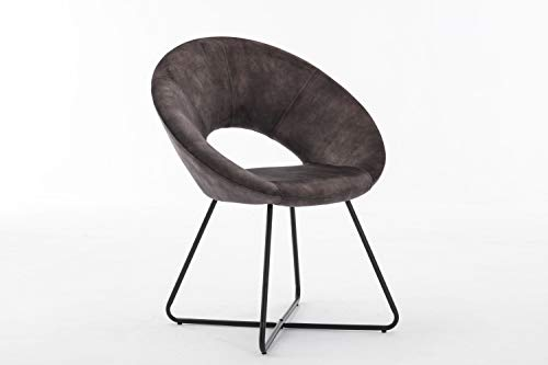 Duhome Silla de Comedor diseño Vintage con Brazos Silla tapizada sillón con Patas de Metallo 439D Vintage, Color:Gris, Material:Terciopelo Vintage
