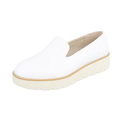 Ital-Design Slipper Damen-Schuhe Low-Top Moderne Halbschuhe Weiß, Gr 38, 62020-