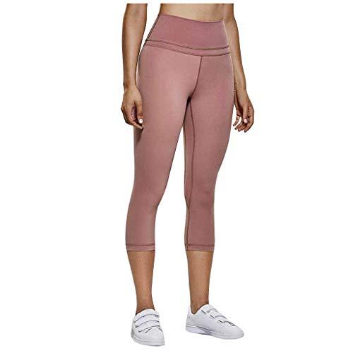 Pantalon Femme Pure Color Taille Haute élastique Fitness Running Seven Quarter Yoga (XL,Rose)