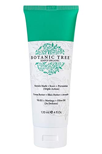 Botanic Tree Stretch Mark Cream-It Helps to Decrease Stretch Marks in 93% of Customers in 2 Months-Stretch Marks Remover Cream with Organic Cocoa, Shea Butter, Avocado-Natural Stretch Mark Removal Lotion for Pregnancy - Scar Cream for Women with Stretch Mark Oil FREE(Pack of 2)