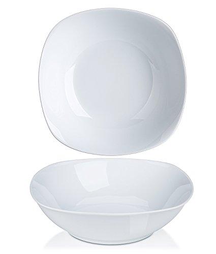 Y YHY Salad Bowls, Large Salad Serving Bowls, Square Pasta Bowl Set of 2, Porcelain Deep Bowls, 42 Ounces