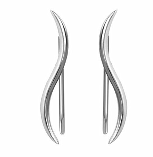 HOMEYU® Plata de Ley 925 Wave Wave Crawter Sweep Cuff Ear Climber Hook Pendientes Leaf Studs