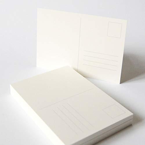 50 altweiße Blanko-Postkarten A6 (stabiler Karton: Munken Pure 300 g/qm) mit vorgedruckten Linien (Briefmarke und Adressfeld)