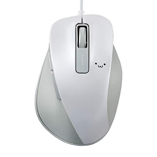 エレコム マウス 有線 Mサイズ 5ボタン(戻る・進むボタン搭載) BlueLED 握りの極み ホワイト(フェイス) M-XGM10UBWH/EC