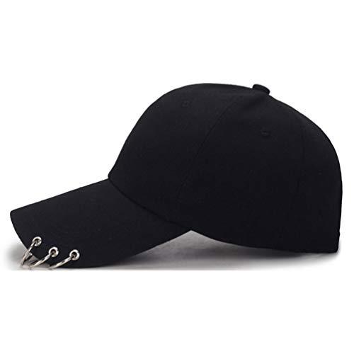 K-POP Ring Baseball Cap - Dad Hats with Rings, Womens Mens Adjustable Snapback Hip Hop Flat Hat (Black)
