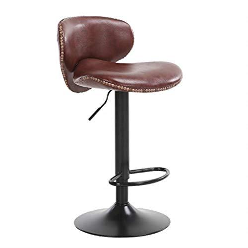 WOYQS Chaise de salle à manger en similicuir, tabourets de bar avec dossier réglable en hauteur, coussin de cuir blanc, base en métal, différentes couleurs à choisir, convient au bar Bar de cuisine po