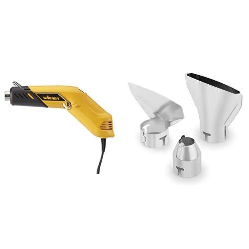 WAGNER 2398546 Heißluftpistolen Gelb + WAGNER 3-teiliges Düsenset für FURNO Heißluftpistolen - Zentrierdüse 14 mm, Breitstrahldüse 75 mm und Abstrahldüse 75 mm, silber
