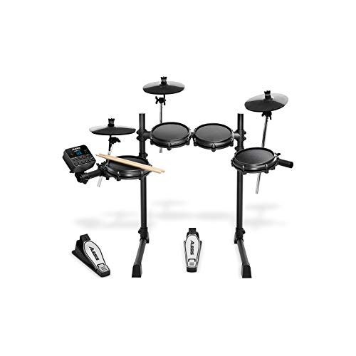 Alesis Turbo Mesh Kit | Seven Piece All-Mesh Electronic Drum Kit With Super-Solid Steel Rack, 100+ Sounds, 30 Play-Along Tracks, Connection Cables, Drum Sticks & Drum Key included