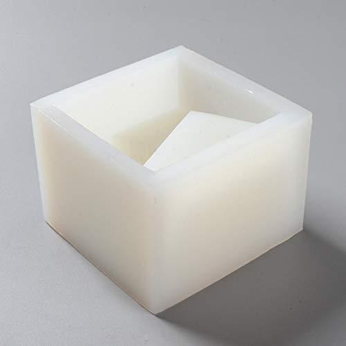 JLZK Moldes Cuadrados de hormigón Moldes para macetas de Cemento de Silicona Herramienta Decorativa para Soporte de bolígrafo de Escritorio