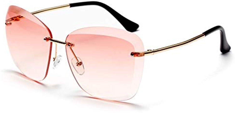 CQYYDD Randlose Sonnenbrille Für Frauen Verlaufsglas Sommer Blau Braun Quadrat Sonnenbrille Uv400 Für Damen