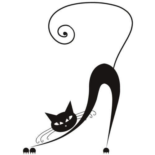 Abkbcw Etiqueta de la Pared del Gato de la Historieta del Gato Etiqueta engomada de la Pared del Animal doméstico Etiqueta engomada romántica de la decoración del hogar del Dormitorio 56X76 cm