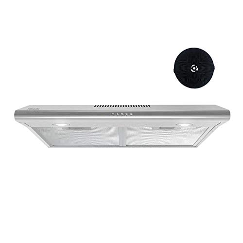 FIREGAS Under Cabinet Range Hood 30 inch with Ducted/Ductless Convertible  Slim Kitchen Over Stove Vent  LED Light  3 Speed Exhaust Fan  Reusable Aluminum Filters  Push Button Charcoal Filter