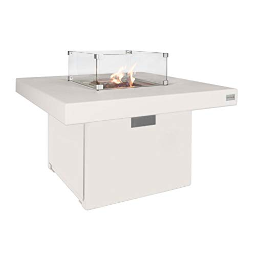 Easyfires Milano Fire Table White on Gas   Fire Pit, Gas Fire Pit, Patio Fireplace   Square   95 x 95 x 55 cm
