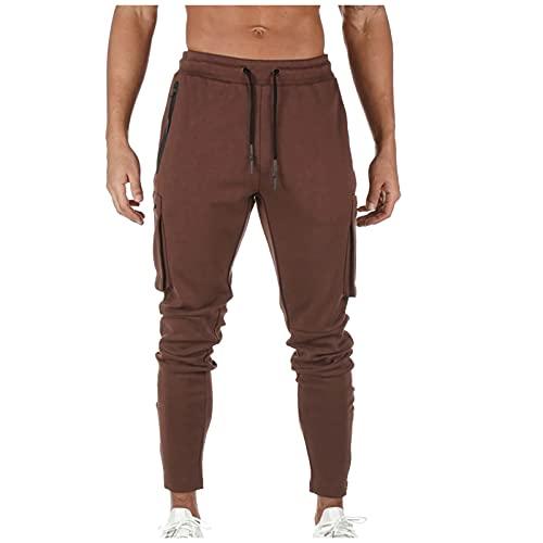 Pistaz Pantalones de ocio para hombre, de algodón, ajustados con cuerda, cintura elástica, para tiempo libre, deporte, con cordón, Vino, 36W